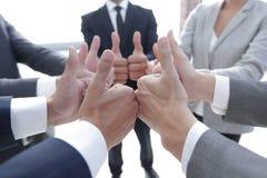 zespół pokazujący przedsiębiorstw kciuki w górę Zdjęcia Stock
