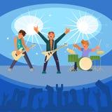 Zespół rockowy koncertowa wektorowa płaska ilustracja royalty ilustracja