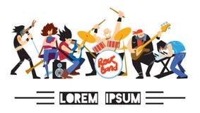 Zespół rockowy muzyki grupa z muzykami royalty ilustracja