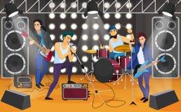 Zespół rockowy na scenie Muzykalnej grupy kreskówki wektoru ilustracja ilustracji