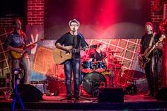 Zespół wykonuje na scenie Zdjęcie Stock