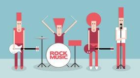 zespoły rockowe sylwetki muzyków ilustracyjnych sześć wektorów Obraz Stock