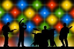 zespoły rockowe sylwetki muzyków ilustracyjnych sześć wektorów royalty ilustracja