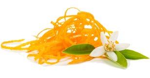 Zest and blossom of orange fruit. Royalty Free Stock Photo