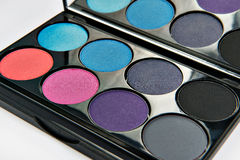 zestawy cienie oko pojedynczy białe tło Błękit, menchia, szarość, eyeshadow Zdjęcie Royalty Free