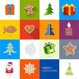 Zestien Geplaatste Kerstmis Vectorachtergronden Stock Afbeelding