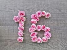 16, zestien - uitstekend aantal roze rozen op de achtergrond van donker hout stock foto