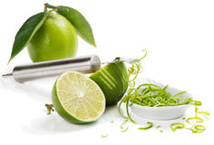 Zesting lime Stock Photo