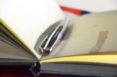 zeszyt otwarte długopis Zdjęcie Royalty Free