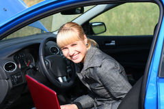 zeszyt samochodów kobieta Fotografia Stock