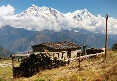 Zet Annapurna - Nepal op royalty-vrije stock afbeelding