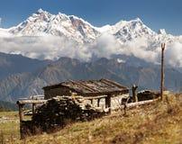 Zet Annapurna - Nepal op stock foto's