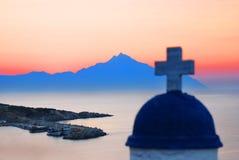 Zet Athos bij zonsopgang op Royalty-vrije Stock Afbeelding