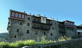 Zet Athos, Chalkidiki Griekenland op - Klooster van Iviron Stock Foto