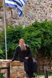 ZET ATHOS, GRIEKENLAND - JUNI 2012 OP: Orthodoxe priester Royalty-vrije Stock Afbeelding