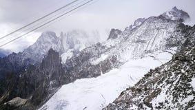 Zet Blanc-gletsjer van Italiaanse grens op Royalty-vrije Stock Foto's
