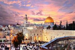 Zet de Oude Stad van Jeruzalem bij Tempel op Royalty-vrije Stock Foto