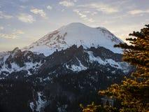 Zet de Verbazende Zonsondergang van Rainier National Park Mountain Peak op stock fotografie