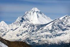 Zet Dhaulagiri van Thorung-de pas van La, Nepal op royalty-vrije stock foto's
