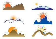 Zet en zon op stock illustratie