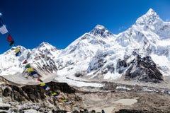 Zet Everest-bergenlandschap op stock afbeelding