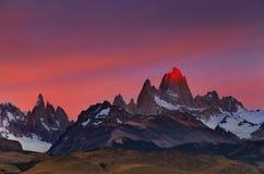 Zet Fitz Roy bij zonsopgang op, Patagonië, Argentinië Stock Fotografie
