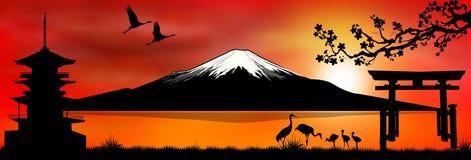 Zet Fuji bij zonsondergang 1 op vector illustratie