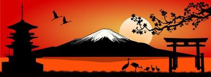 Zet Fuji bij Zonsondergang op vector illustratie