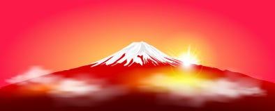 Zet Fuji bij zonsopgang op Fuji tegen de rode hemel en de het toenemen zon stock illustratie
