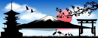 Zet Fuji, de ochtendzonsopgang op vector illustratie