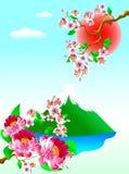 Zet Fuji en bloemen op royalty-vrije illustratie