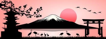 Zet Fuji, landschap op stock illustratie
