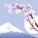 Zet Fuji, maan en sakura op Stock Afbeelding