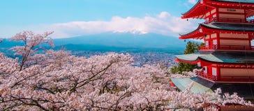 Zet Fuji met de rode Pagode van Chureito, blauwe hemel en mooi Cherry Blossom of roze Sakura-bloemboom in Lentetijd in Fujiyosh o stock afbeeldingen