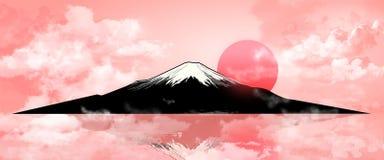 Zet Fuji op avondzonsondergang 1 op stock illustratie