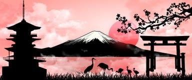 Zet Fuji op avondzonsondergang op vector illustratie