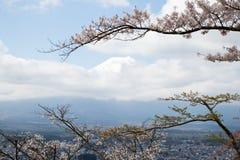 Zet Fuji op die het beroemde oriëntatiepunt in Japan met witte wolk is royalty-vrije stock fotografie