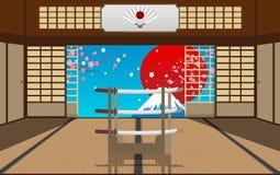 Zet Fuji op lanscape stock illustratie