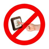 Zet geen vingers in de contactdoos Stock Foto's
