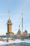 Zet Grosser Feldberg, hoogste piek van op Duitse Taunus-mounta Stock Afbeeldingen