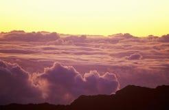 Zet Haleakala-Vulkaan bij Zonsopgang op, Maui, Hawaï Stock Foto