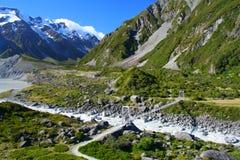 Zet het Nationale Park van Cook in Nieuw Zeeland op royalty-vrije stock foto's