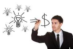 Zet ideeën in contant geldconcept om Stock Fotografie