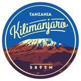 Zet Kilimanjaro openluchtop het avonturenkenteken in van Afrika, Tanzania Hoogste vulkaan op Aardeillustratie vector illustratie