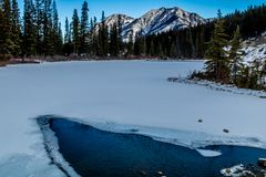 Zet Lorrett-Vijvers, het Gebied van het de Wildernisgebied van de Boogvallei, Alberta, Canada op Royalty-vrije Stock Foto's