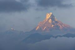 Zet Machhapuchchhre in licht van de avond het zachte zon op Royalty-vrije Stock Foto's
