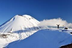 Zet Noodlot in de sneeuw, de winterlandschap in het nationale park van Tongariro op royalty-vrije stock foto's