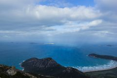 Zet Oberon-Topgang en Vooruitzicht, Wilsons-Voorgebergte Nationaal park op stock foto