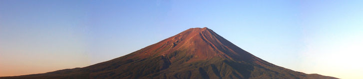 Zet panorama Fuji bij zonsopgang op stock afbeelding