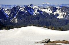 Zet Regenachtiger en de Bergen van de het Noordencascade, Washington State op stock fotografie